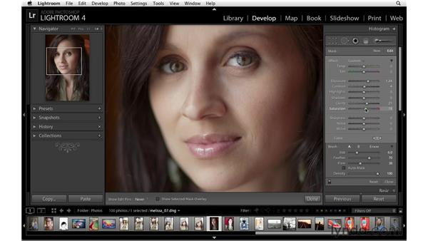 The Adjustment Brush and Basic panel workflow: Lightroom 4 Essentials: 02 Enhancing Photos with the Develop Module