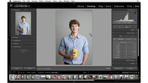 Brightening tones with HSL: Lightroom 4 Essentials: 02 Enhancing Photos with the Develop Module