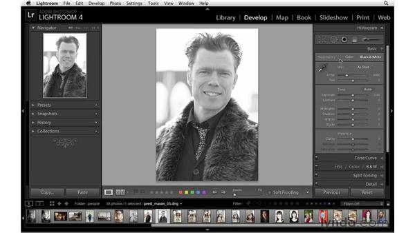 Introducing black-and-white conversion: Lightroom 4 Essentials: 02 Enhancing Photos with the Develop Module