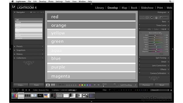 Converting to black and white: Lightroom 4 Essentials: 02 Enhancing Photos with the Develop Module
