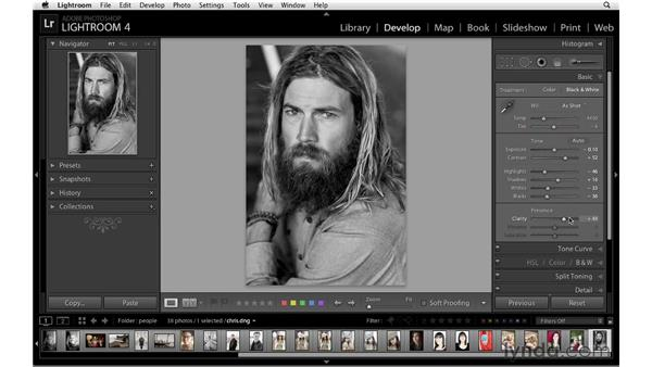 Modifying black-and-white tones with the Grayscale panel: Lightroom 4 Essentials: 02 Enhancing Photos with the Develop Module