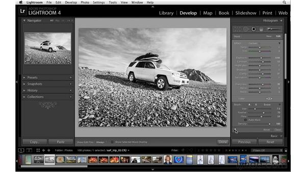 Enhancing black-and-white images with the Adjustment Brush: Lightroom 4 Essentials: 02 Enhancing Photos with the Develop Module