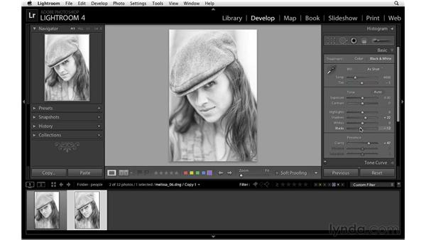 Black-and-white workflow with virtual copies: Lightroom 4 Essentials: 02 Enhancing Photos with the Develop Module