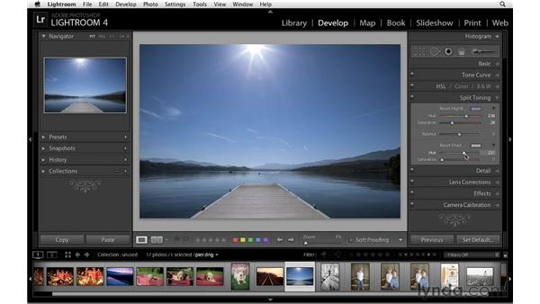 Split toning a color image: Lightroom 4 Essentials: 02 Enhancing Photos with the Develop Module