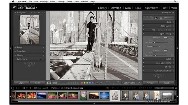 Split toning to create a sepia-tone effect: Lightroom 4 Essentials: 02 Enhancing Photos with the Develop Module