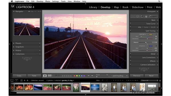 Using split toning to enhance a sunrise: Lightroom 4 Essentials: 02 Enhancing Photos with the Develop Module