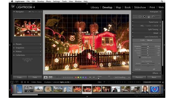 Removing fish-eye distortion: Lightroom 4 Essentials: 02 Enhancing Photos with the Develop Module