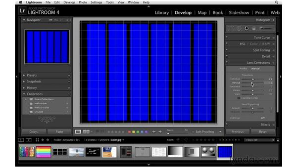 Using the Lens Correction controls: Lightroom 4 Essentials: 02 Enhancing Photos with the Develop Module