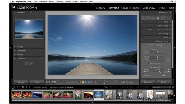 Adding and correcting vignettes: Lightroom 4 Essentials: 02 Enhancing Photos with the Develop Module