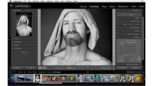 Working with film grain: Lightroom 4 Essentials: 02 Enhancing Photos with the Develop Module