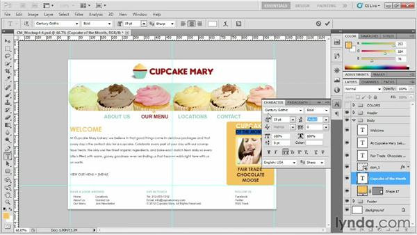 Styling the main content and sidebar: Designing Web Sites from Photoshop to Dreamweaver