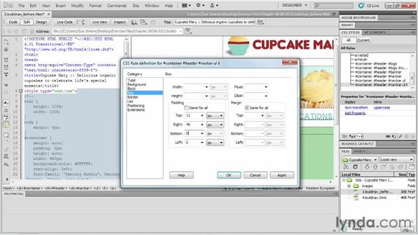 Building and styling a navigation menu: Designing Web Sites from Photoshop to Dreamweaver
