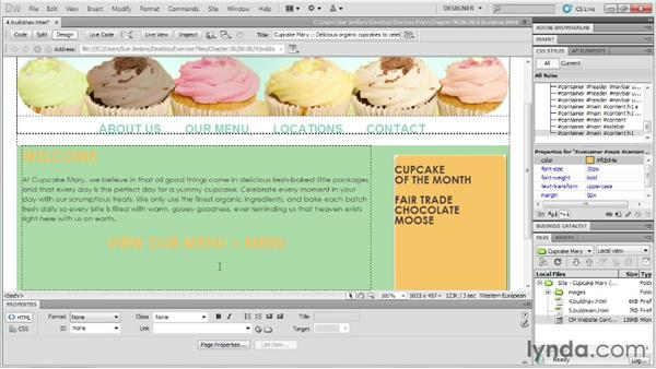 Building and styling main content and a sidebar: Designing Web Sites from Photoshop to Dreamweaver