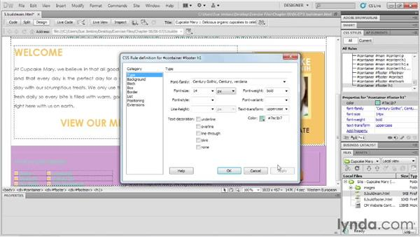 Building and styling the footer: Designing Web Sites from Photoshop to Dreamweaver