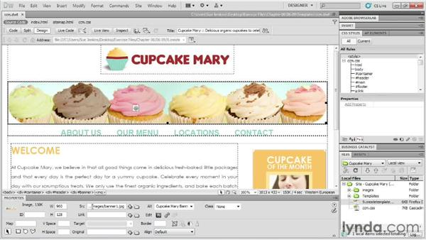 Creating templates with editable regions: Designing Web Sites from Photoshop to Dreamweaver