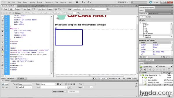 Using absolutely positioned (AP) div tags: Designing Web Sites from Photoshop to Dreamweaver