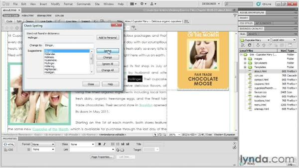 Spell-checking: Designing Web Sites from Photoshop to Dreamweaver