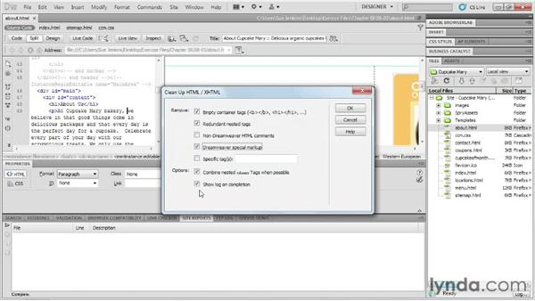 Site cleanup: Designing Web Sites from Photoshop to Dreamweaver