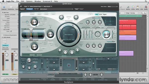 Setting the string characteristics with the Material Pad: Virtual Instruments in Logic Pro