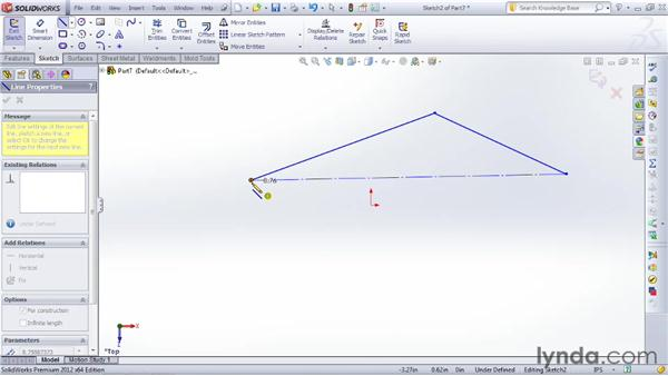 Sketching lines and center lines: SOLIDWORKS 2012 Essential Training