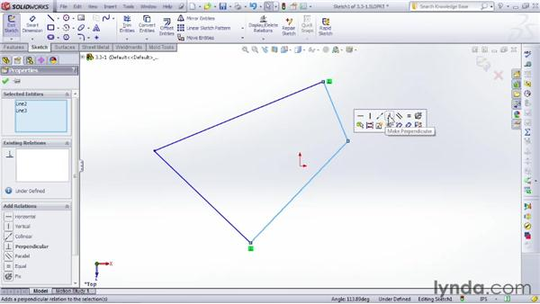 Adding and removing relationships: SOLIDWORKS 2012 Essential Training