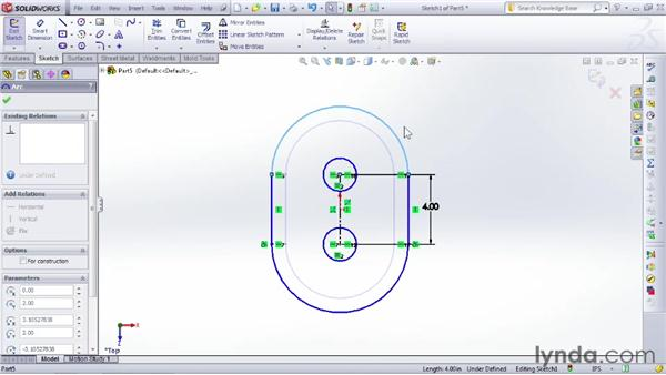 Dimensioning a sketch to define specific size attributes: SOLIDWORKS 2012 Essential Training