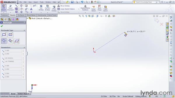 Sketching rectangles: SOLIDWORKS 2012 Essential Training