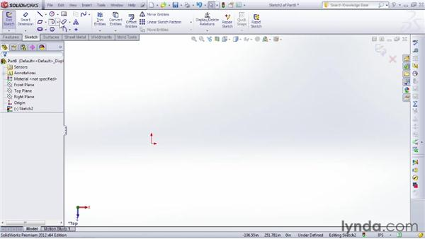 Creating arcs in a sketch: SOLIDWORKS 2012 Essential Training