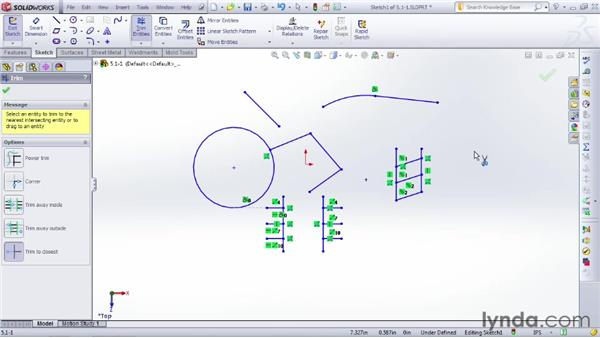 Trimming and extending portions of a sketch: SOLIDWORKS 2012 Essential Training