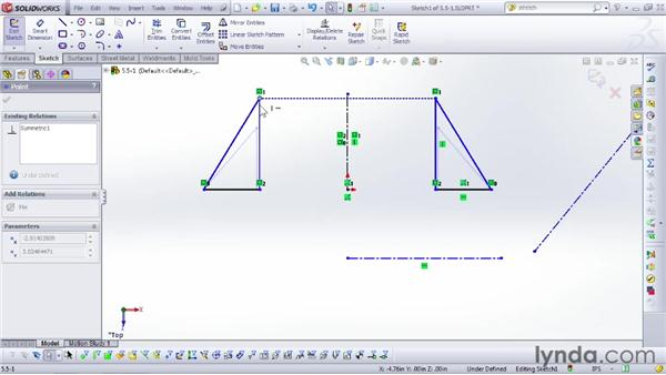 Mirroring part of a sketch: SOLIDWORKS 2012 Essential Training