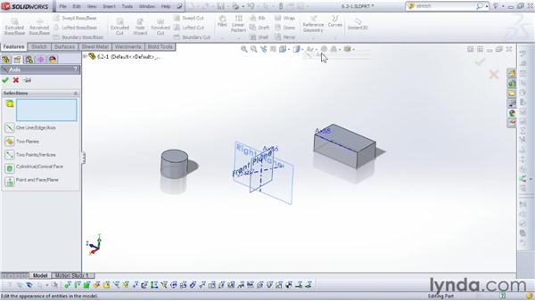Placing and using axes: SOLIDWORKS 2012 Essential Training