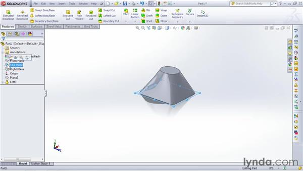 Using Loft to create a complex shape: SOLIDWORKS 2012 Essential Training