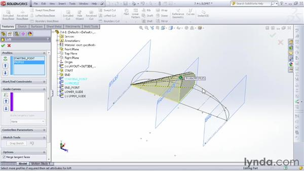 Refining a loft shape with guide curves: SOLIDWORKS 2012 Essential Training