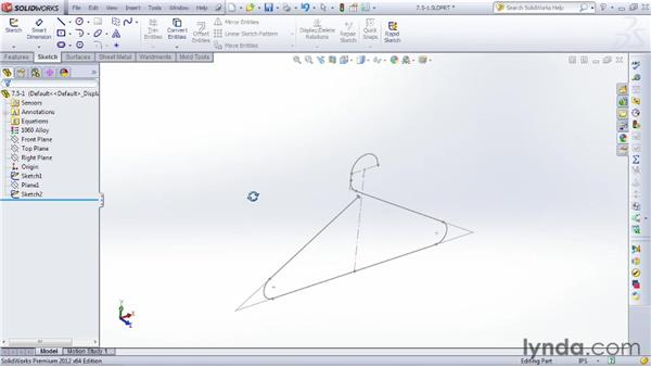 Using Sweep to create wire and pipe shapes: SOLIDWORKS 2012 Essential Training