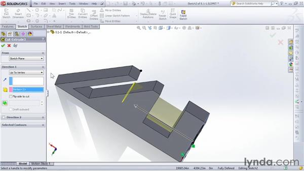Using Extruded Cut to trim parts of a 3D object: SOLIDWORKS 2012 Essential Training
