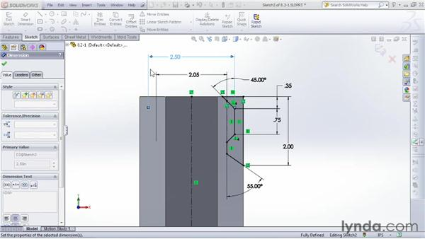 Trimming with the revolve cut: SOLIDWORKS 2012 Essential Training