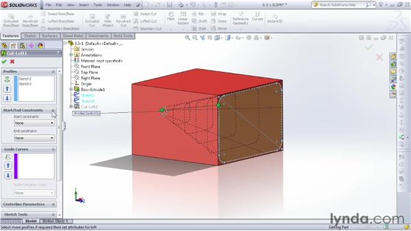 Trimming with the loft cut: SOLIDWORKS 2012 Essential Training