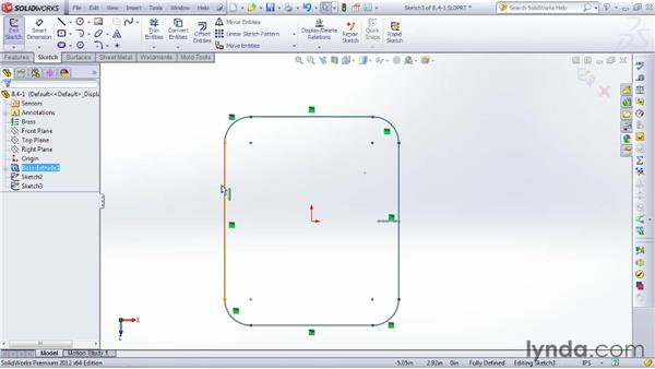 Trimming with the sweep cut: SOLIDWORKS 2012 Essential Training