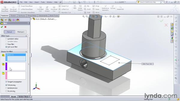 Using fillets and chamfers to create smooth or angled corners: SOLIDWORKS 2012 Essential Training
