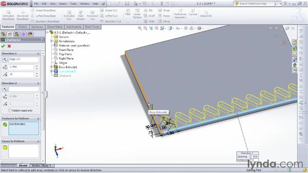 Creating repeating rectangular patterns: SOLIDWORKS 2012 Essential Training