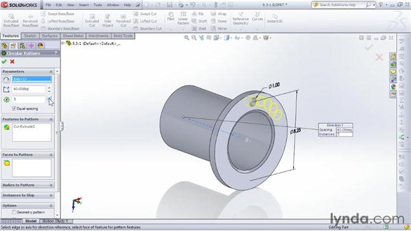 Creating repeating circular patterns: SOLIDWORKS 2012 Essential Training