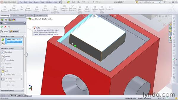 Mating parts with coincident, parallel, and distance mates: SOLIDWORKS 2012 Essential Training