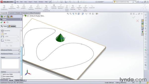 Mating parts along a path: SOLIDWORKS 2012 Essential Training