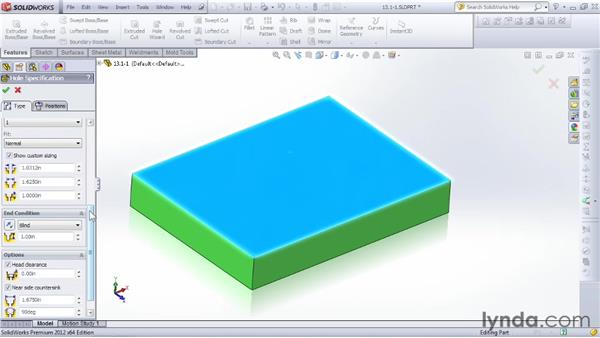 Getting started with the Hole Wizard: SOLIDWORKS 2012 Essential Training