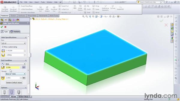 Understanding hole types and standards: SOLIDWORKS 2012 Essential Training
