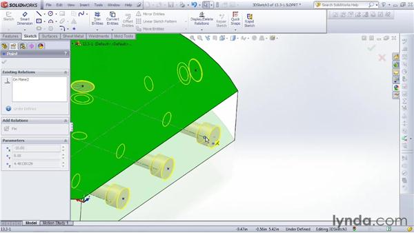 Positioning holes in layout sketches: SOLIDWORKS 2012 Essential Training
