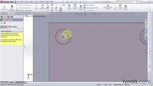 Using the Hole Wizard in context: SOLIDWORKS 2012 Essential Training