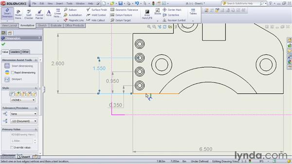 Creating general dimension notations: SOLIDWORKS 2012 Essential Training