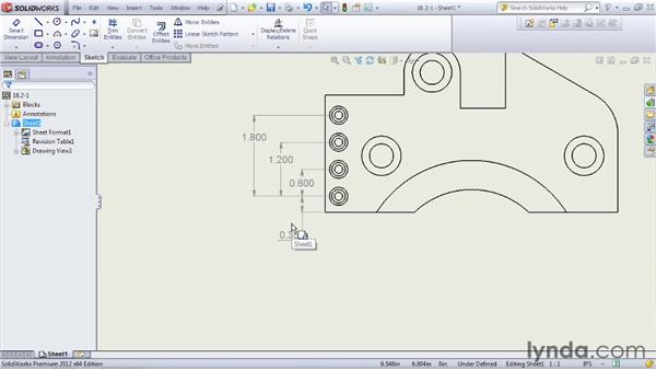 Creating chain and ordinate dimensions: SOLIDWORKS 2012 Essential Training