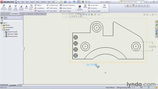 Creating hole callouts: SOLIDWORKS 2012 Essential Training